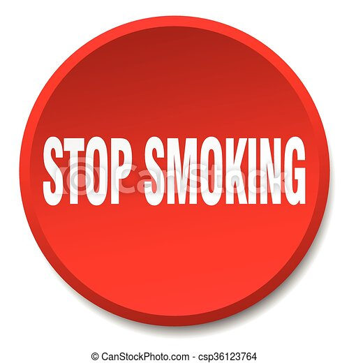 stop smoking red round flat isolated push button - csp36123764