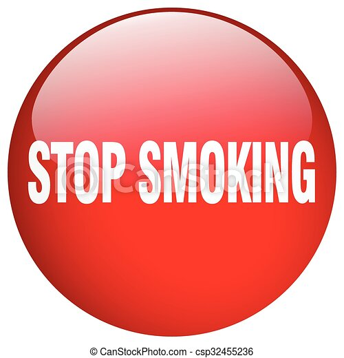 stop smoking red round gel isolated push button - csp32455236