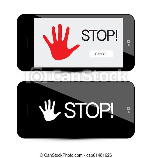 Stop Symbol with Palm Hand on Mobile Phone Device Isolated on White Background - csp61481626