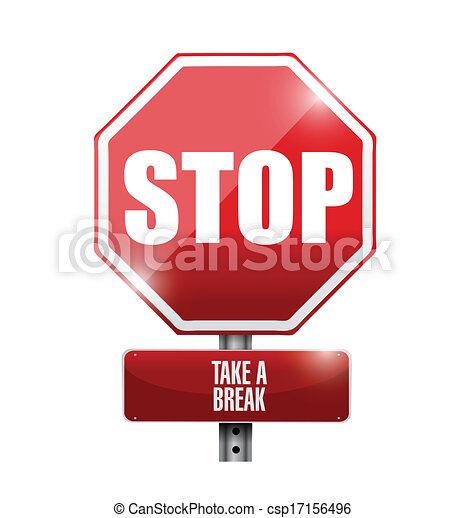 stop take a break road sign illustration design over a. Black Bedroom Furniture Sets. Home Design Ideas