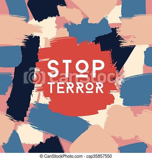 Stop terror grunge postcard template - csp35857550