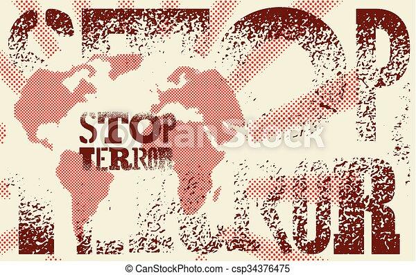 Stop terror. Typographic graffiti g - csp34376475