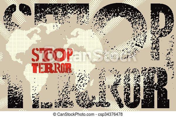 Stop terror. Typographic graffiti g - csp34376478