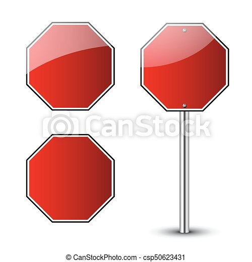Stop traffic road signs blank set