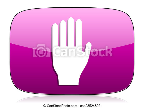 stop violet icon hand sign - csp28524893