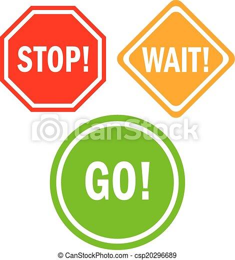 Stop wait go signs - csp20296689