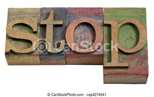 stop word in vintage wooden letterpress printing blocks - csp4274541