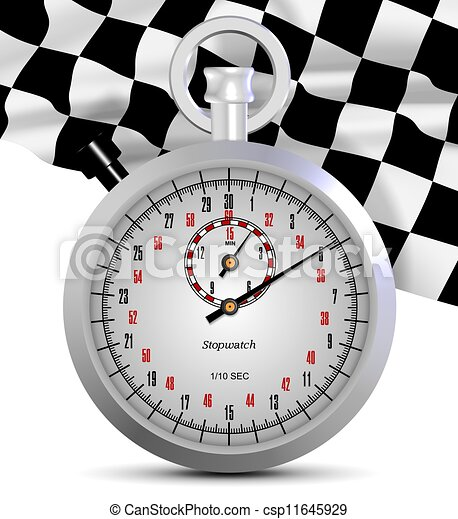 Stopwatch and finish flag - csp11645929
