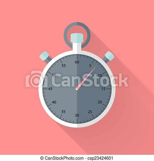 Stopwatch flat icon over pink - csp23424601
