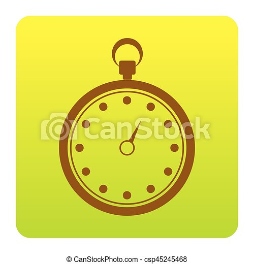 Stopwatch sign illustration. Vector. Brown icon at green-yellow gradient square with rounded corners on white background. Isolated. - csp45245468