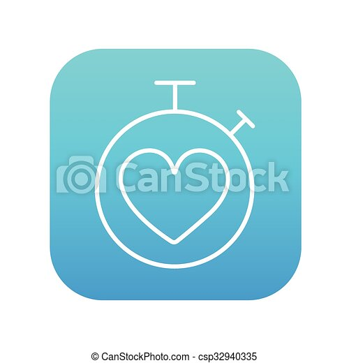 Stopwatch with heart sign line icon. - csp32940335