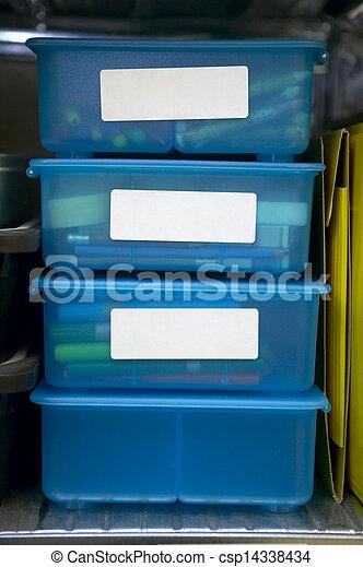 Storage Bins - csp14338434 & Storage bins. 4 clear blue plastic storage drawers with schoolar items .