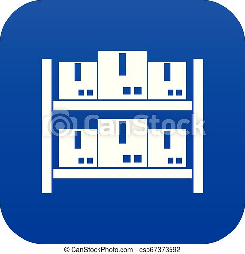 Storage of goods in warehouse icon digital blue