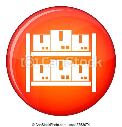 Storage of goods in warehouse icon, flat style - csp43753074
