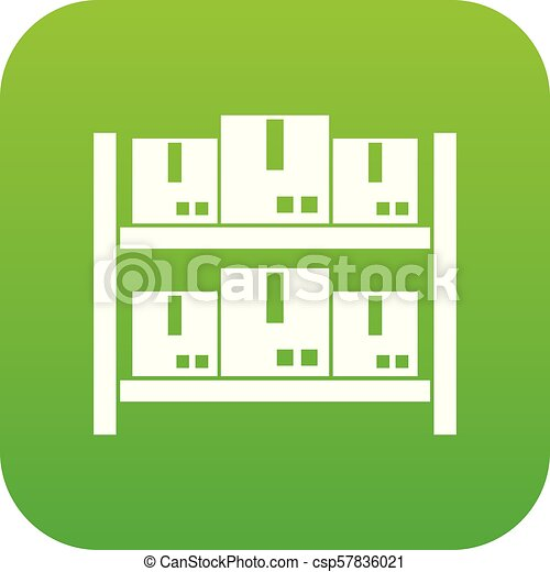 Storage of goods in warehouse icon digital green