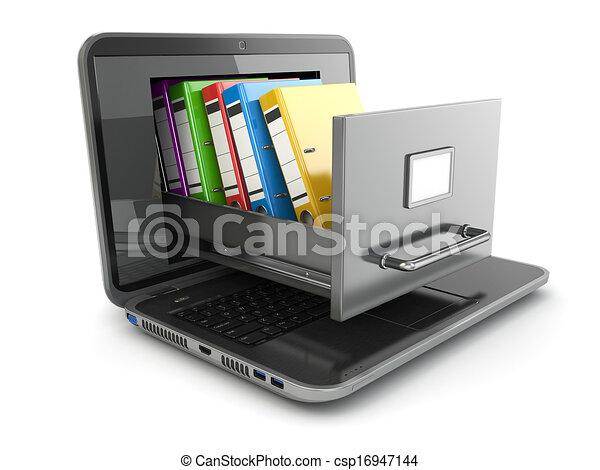 storage., ordinateur portable, binders., cabinet, fichier, anneau, données - csp16947144