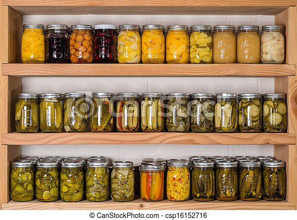 Storage Shelves With Canned Food   Csp16152716