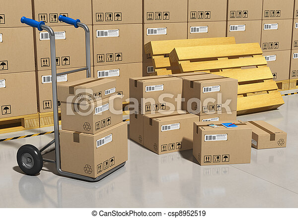 Storage warehouse with packaged goods - csp8952519
