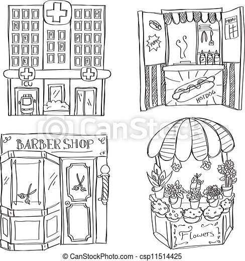 Store And Building Illustration