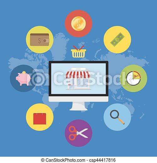 Store and icons in screen on world map background flat vector store and icons in screen on world map background flat vector illustrations on the theme of shopping gumiabroncs Choice Image