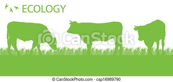 Store cattle ecology background organic farming vector - csp16989790