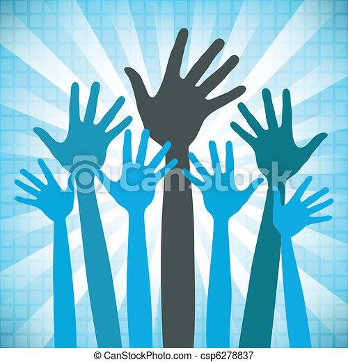 store, design., glade, gruppe, hænder - csp6278837