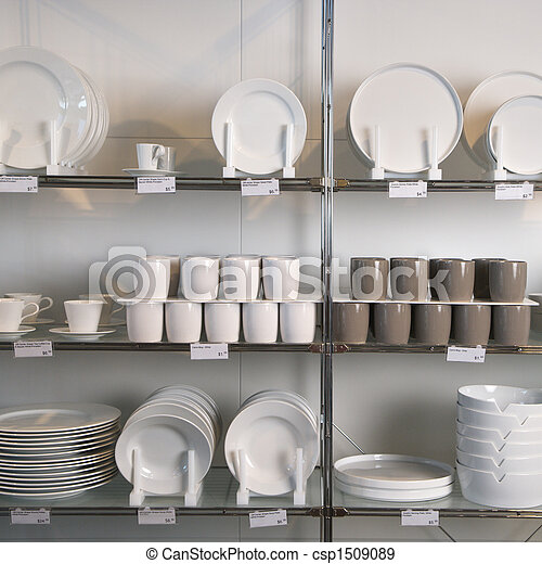 Store display of dishes. - csp1509089
