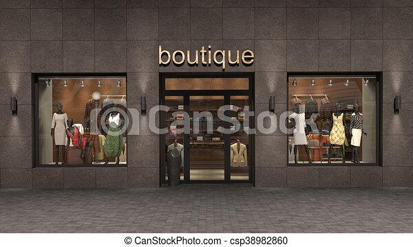 store exterior, 3d illustration - csp38982860