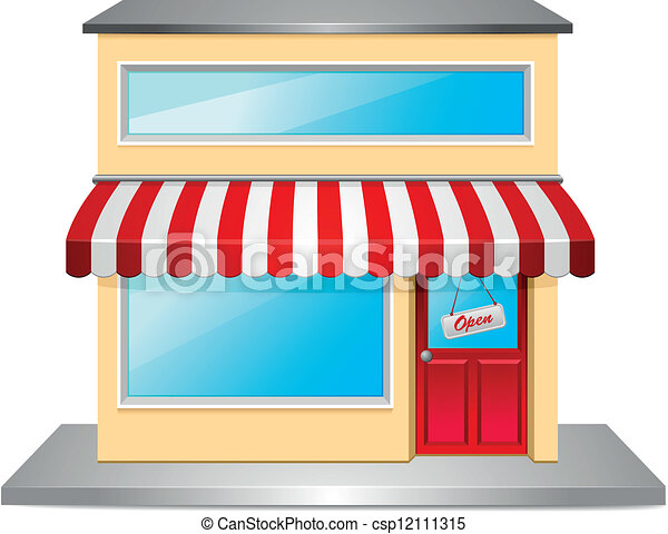 Detailed illustration of a store front.