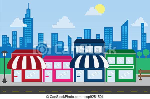 Store Fronts and Skyline Buildings  - csp9251501
