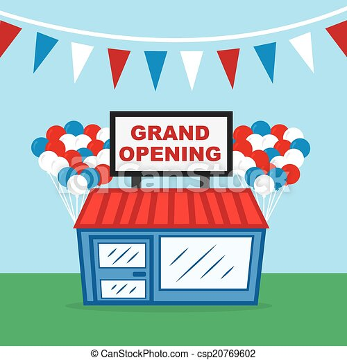 store grand opening store with grand opening sign and vector rh canstockphoto com Grand Opening Event Flyer grand opening banner clip art