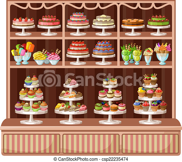 Store of sweets and bakery. vector illustration - csp22235474