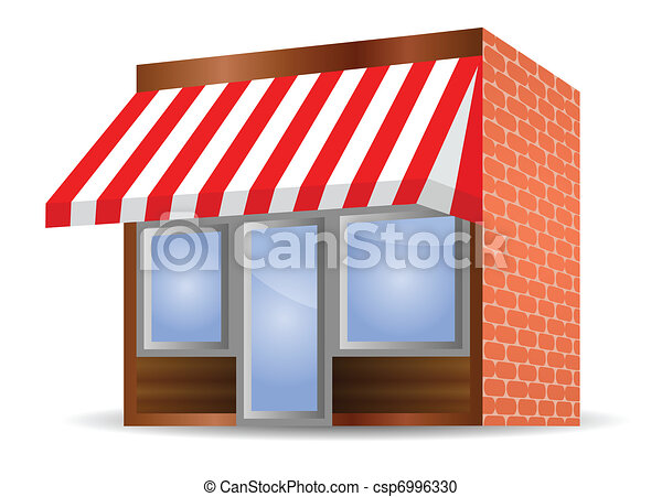 Vector Illustration Of Storefront Awning In Red Vector