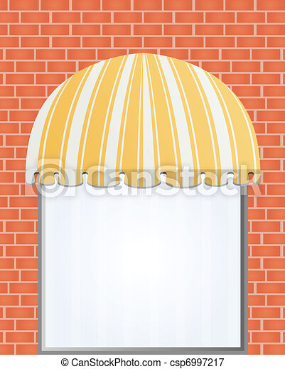 Vector illustration of storefront awning in yellow.