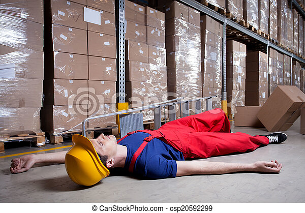 Storekeeper after accident on a ladder - csp20592299