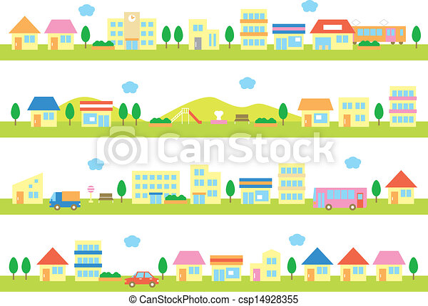 stores and houses on a street - csp14928355