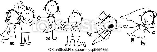 storia, matrimonio, asse, cartone animato - csp5654355