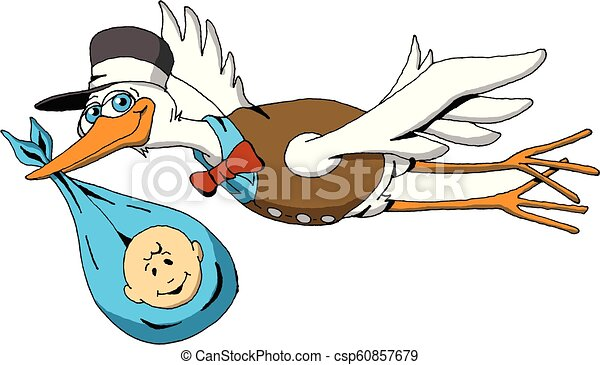 Stork Baby Boy Blue Cartoon Image Of A Happy Stork On His Way To Deliver A Baby