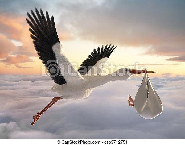 Stork & Baby - csp3712751