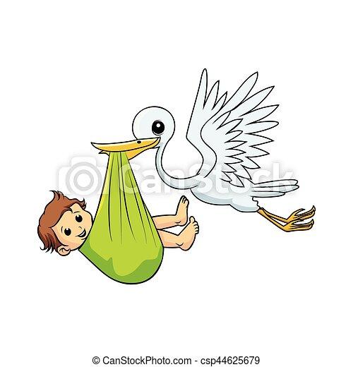 stork bird carrying baby boy