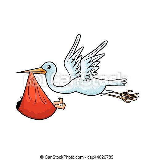 stork bird carrying newborn baby