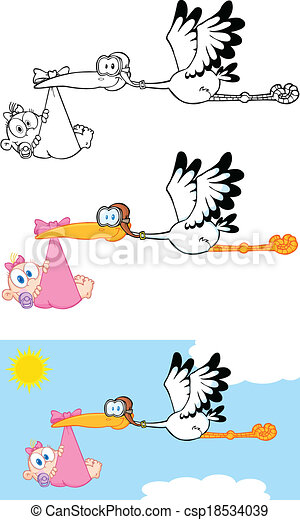 Stork Carrying A Baby Girl  - csp18534039