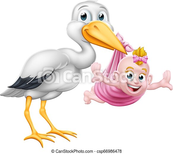 Stork Cartoon Pregnancy Myth Bird With Baby Girl A Stork Or Crane Cartoon Bird Carrying A New Born Baby As In The Pregnancy