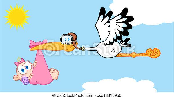 Stork Delivering A Baby Girl - csp13315950