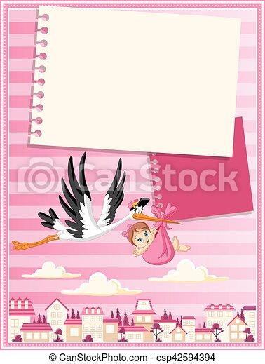 stork delivering a newborn baby girl - csp42594394