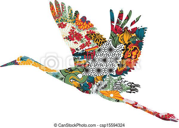Stork in Japanese ornament - csp15594324