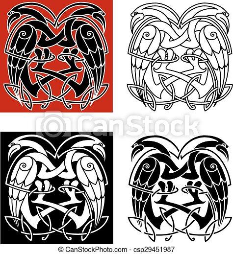 Stork Or Heron Birds With Celtic Patterns Celtic Knot Ornamental