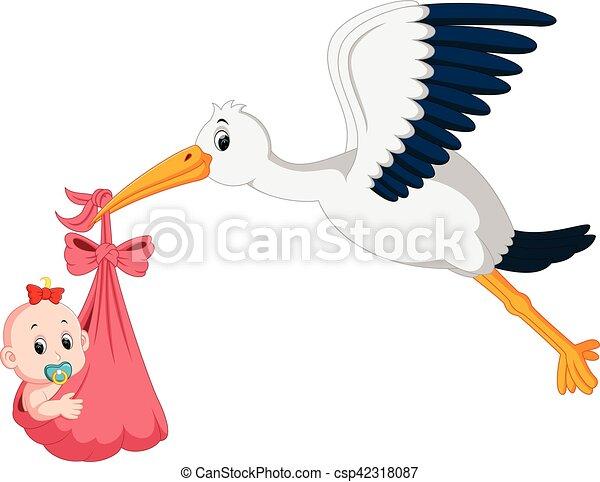 stork with baby cartoon - csp42318087