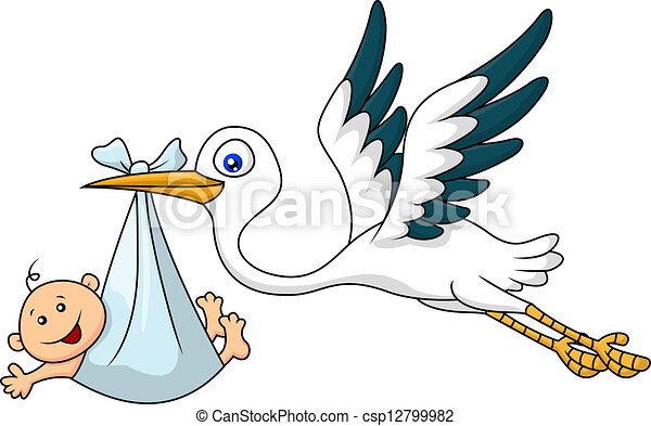 vector illustration of stork with baby cartoon vector search clip rh canstockphoto com