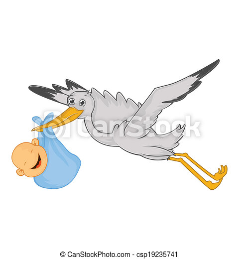 Stork with baby - csp19235741